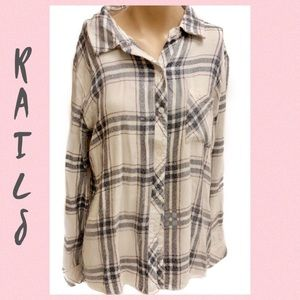 Rails Charcoal/Off White/Pink Button Down Size M